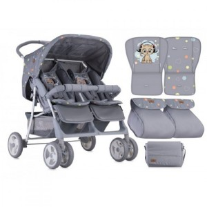 Коляска для двойни Bertoni TWIN (grey cute kitten)