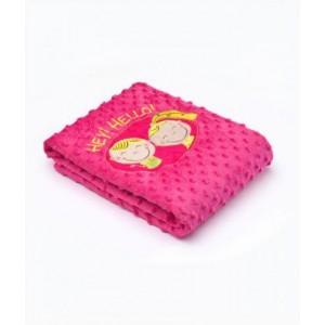 Плед Sensillo 2-STR велюр Hey! Hello! 75*100 S-23214 pink