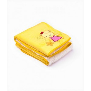 Плед Sensillo 2-STR с 3D вышивкой Sweet Teddies 75*100 S-22866 yellow