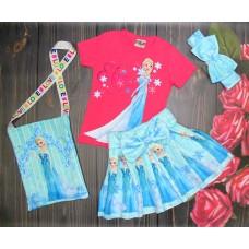 Костюм Эльза с сумочкой малиновая футболка футболка 2-8 лет( 004296)