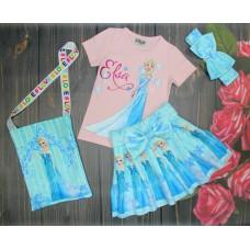 Костюм Эльза с сумочкой розовая футболка 2-8 лет( 004295)