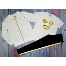 Костюм-тройка с футболкой с бусинками 4-12лет ( 004293)