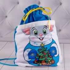 Рюкзачек новогодний для подарков синий (00917)